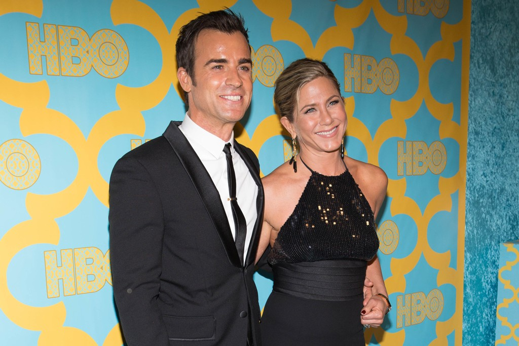 Justin Theroux with Jennifer Aniston in Saint Laurent at the HBO party.