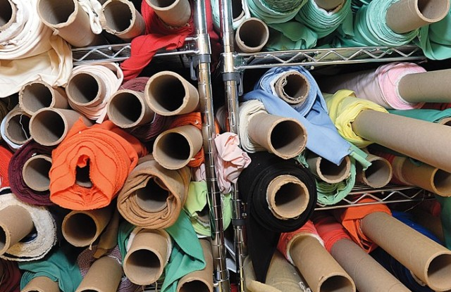 A colorful array of sample Lycra fabric.