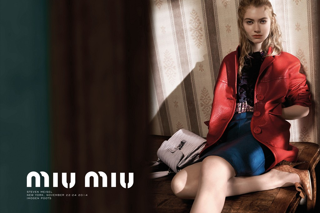Imogen Poots in Miu Miu's spring campaign.