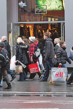 Holiday shoppers in New York.