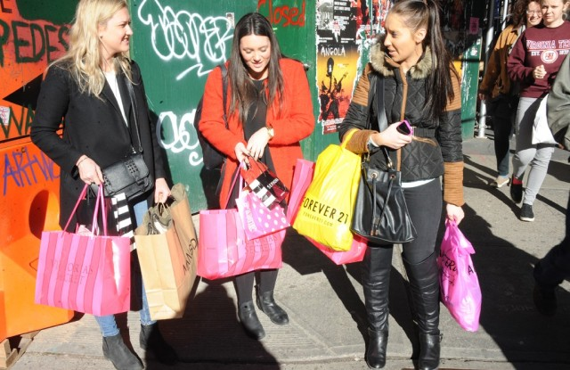 Shoppers in New York.