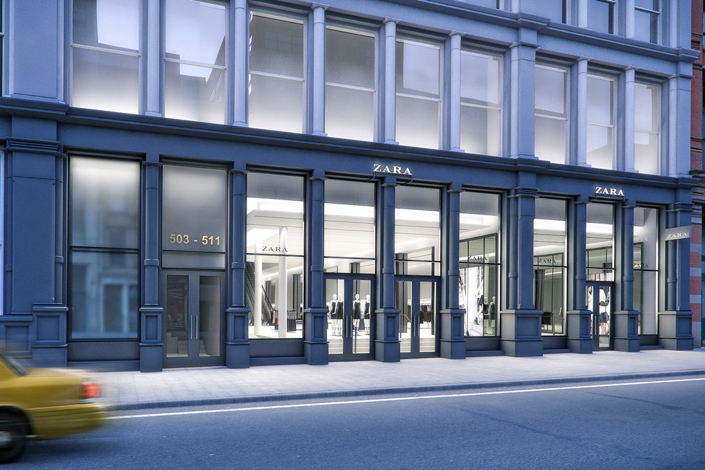 A rendering of the future Zara flagship in SoHo