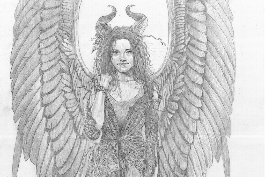 """A sketch by Anna B. Sheppard for """"Maleficient."""""""
