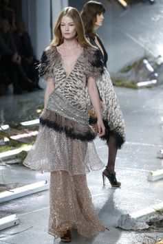 Kate and Laura Mulleavy channeled migrating birds for fall at Rodarte, featuring feather embellishments. [Photo by John Aquino]