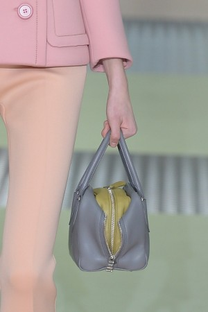 """Miuccia Prada's fall 2015 runway was one of simultaneous restraint and detail, perfectly expressed in this double-layer """"two-fer"""" style featuring a bag within a bag."""
