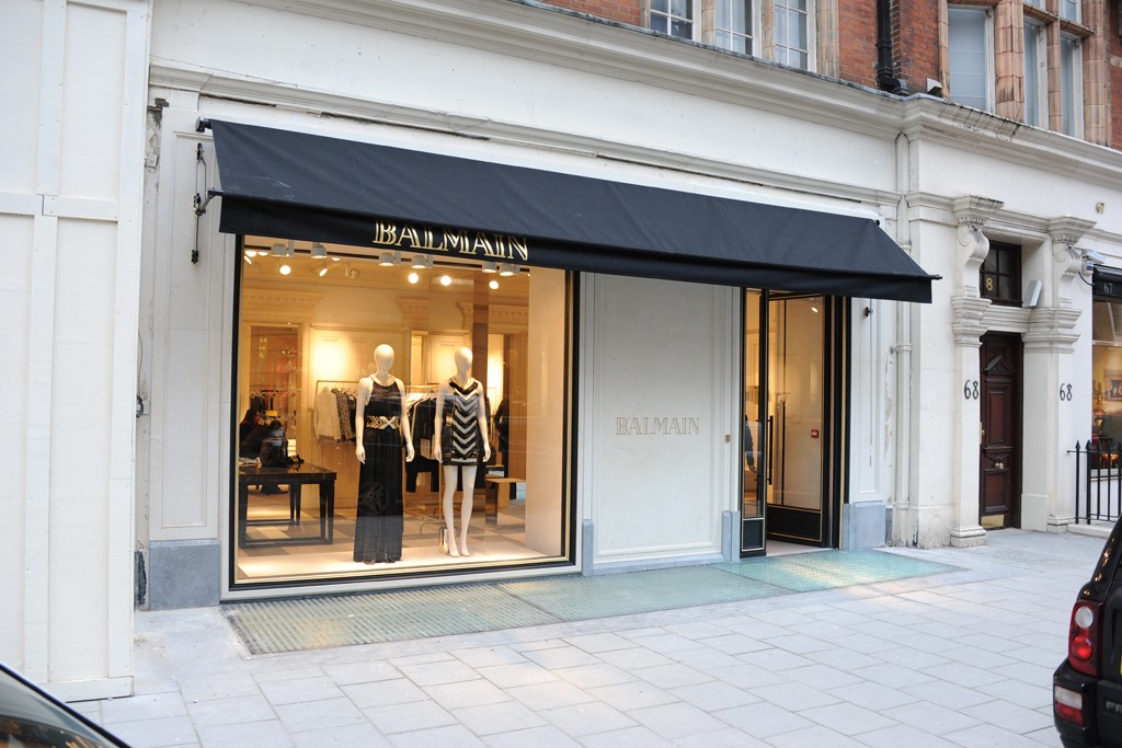 A view of the Balmain store in London.