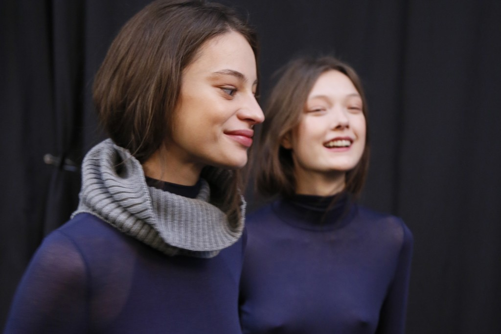 Backstage at BCBG Max Azria's fall show.