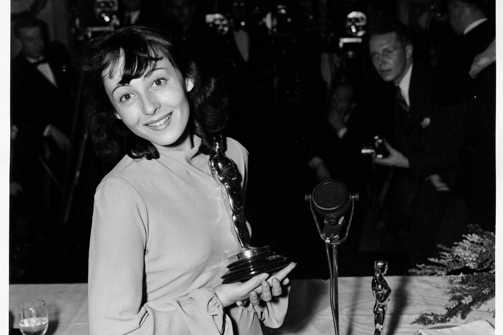 Luise Rainer in a knit frock, 1938.