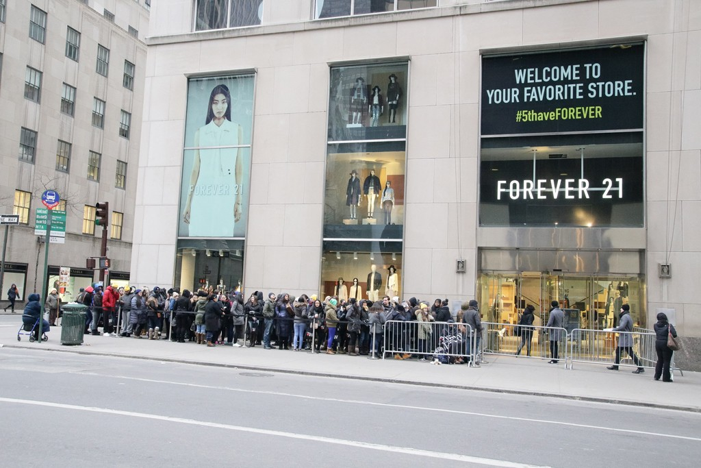 Outside the opening of Forever 21's Fifth Avenue location.