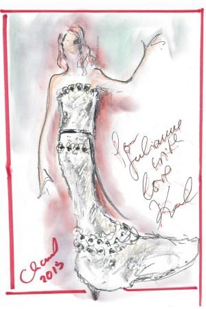 Karl Lagerfeld's sketch for Julianne Moore's Chanel Haute Couture Oscar dress