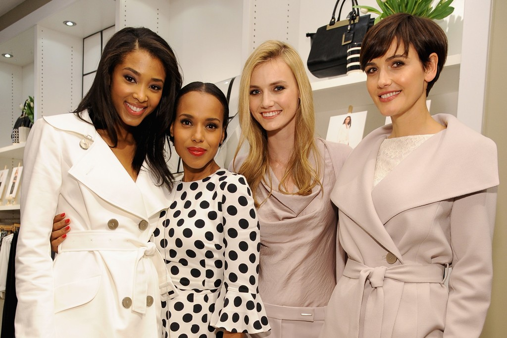 "Kerry Washington with models wearing looks from The Limited's collection inspired by her show ""Scandal."""