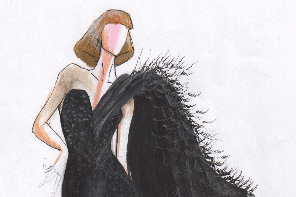 A sketch of one of the dresses worn by Lady Gaga.