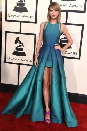 Taylor Swift wearing Lorraine Schwartz earrings and Giuseppe Zanotti shoes.