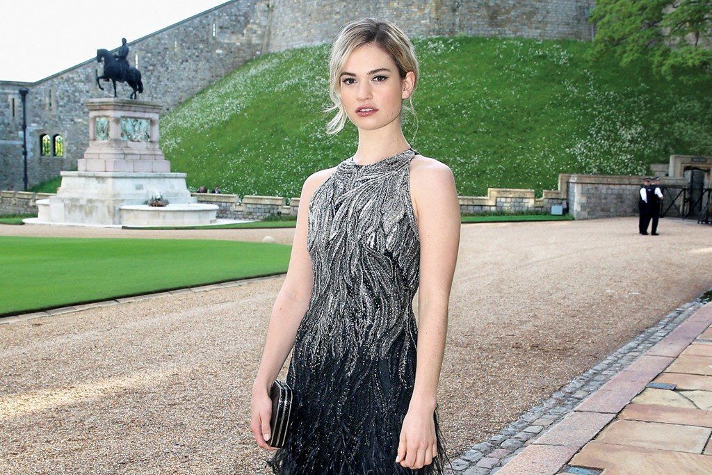 Lily James at a charity dinner hosted by Prince William at Windsor Castle.