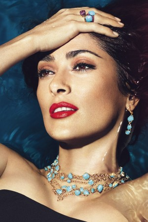 Salma Hayek in the Pomellato campaign, photographed by Mert Alas and Marcus Piggott.