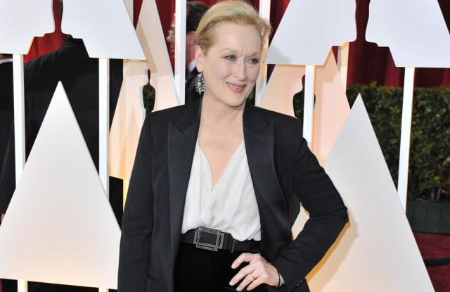 Meryl Streep wearing Fred Leighton earrings and bracelets.