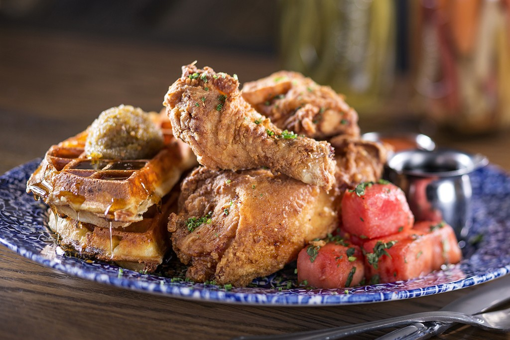 Chicken and waffles at Yardbird Southern Table & Bar.