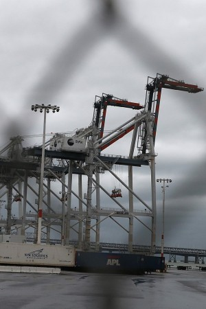Shipping cranes at the Port of Oakland.