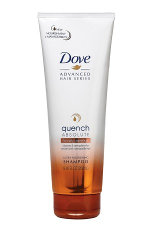 Dove Advanced Hair Series Quench Absolute Ultra Nourishing Shampoo restores moisture and softens hair with Brazilian buriti oil.