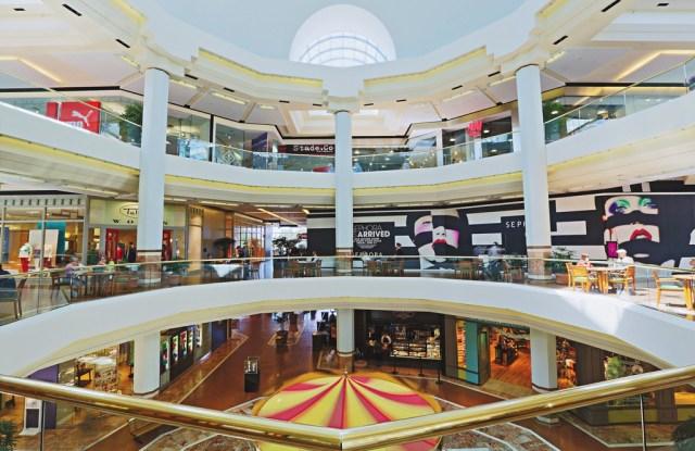 An atrium view of South Coast Plaza.