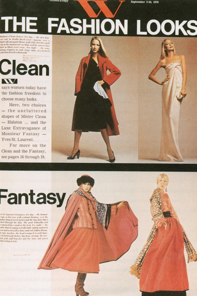 Designs by Halston and Yves Saint Laurent on the cover of W magazine, September 3–10, 1976