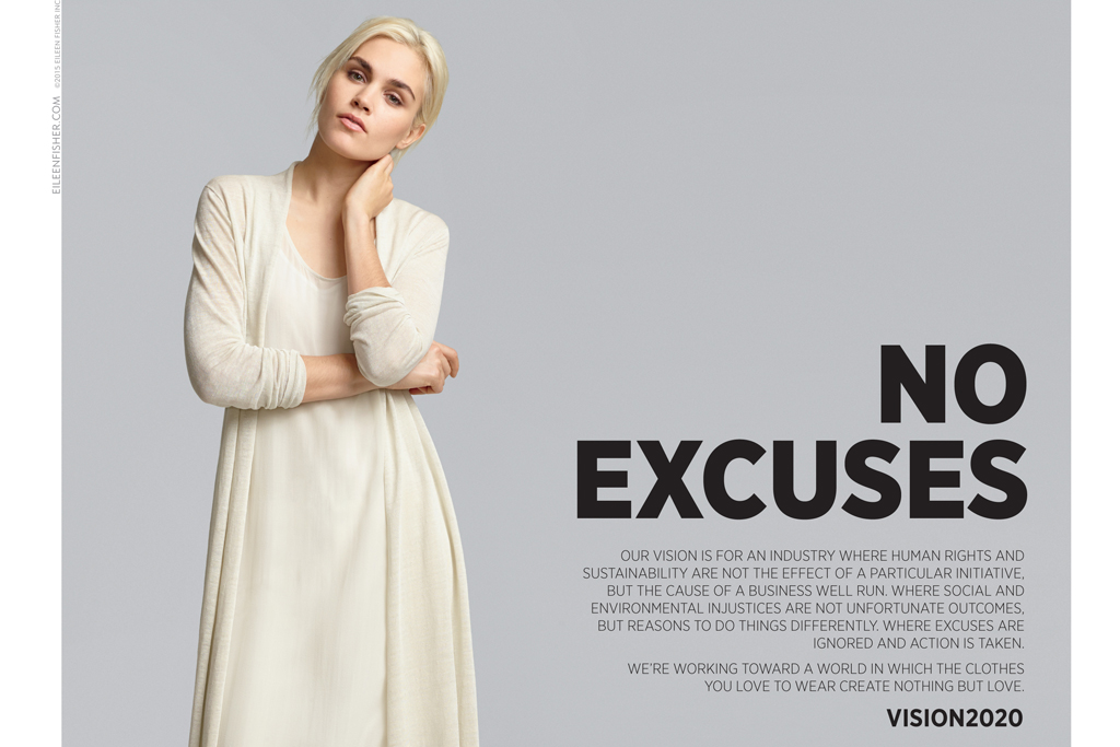 A No Excuses ad from Eileen Fisher for spring '15.