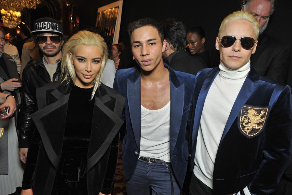 Kim Kardashian, Olivier Rousteing and Jared Leto