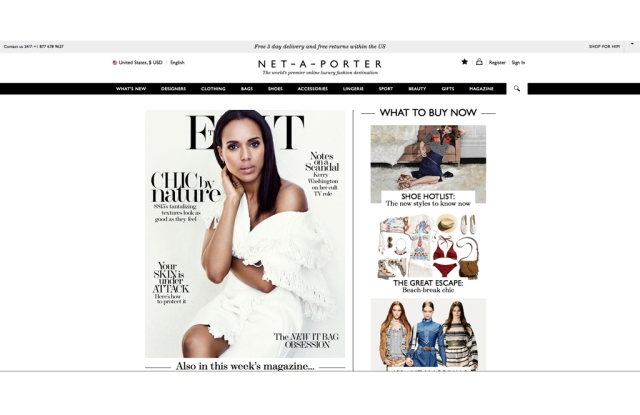 The Net-a-Porter homepage
