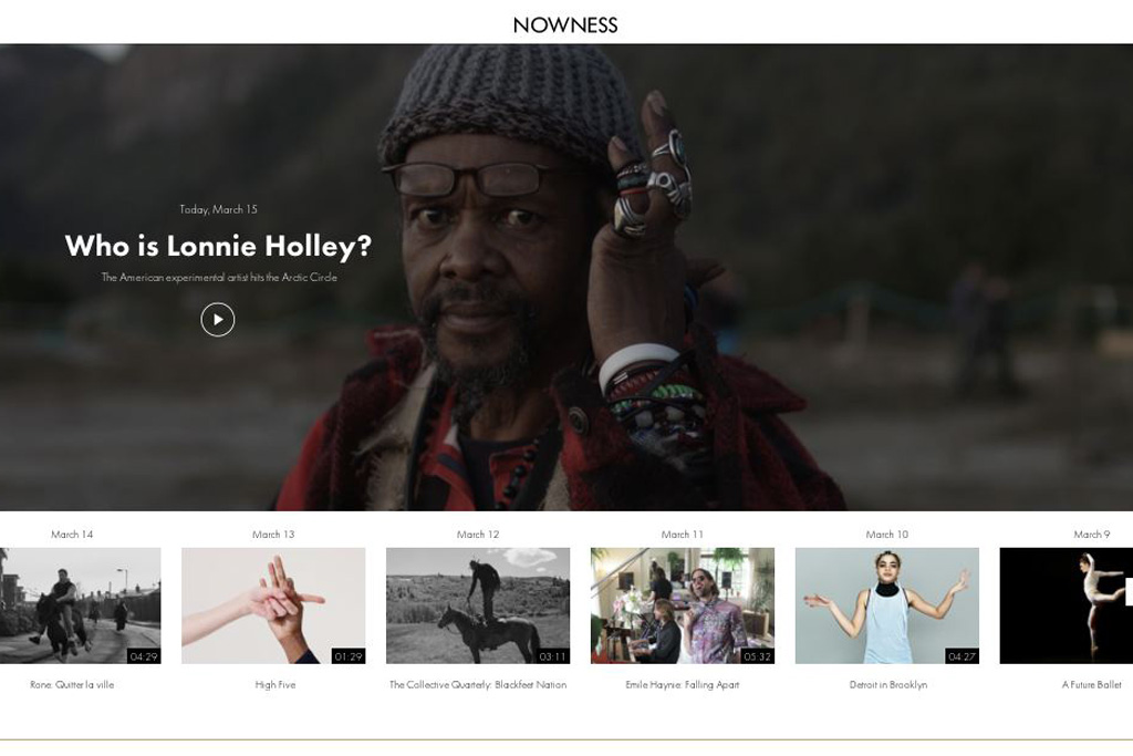 A screenshot of the Nowness homepage.