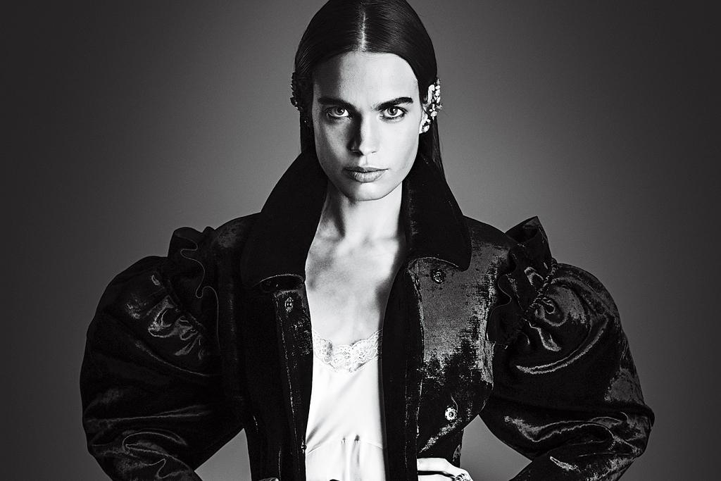 Simone Rocha's silk-velvet jacket, silk slip and viscose and lace skirt.