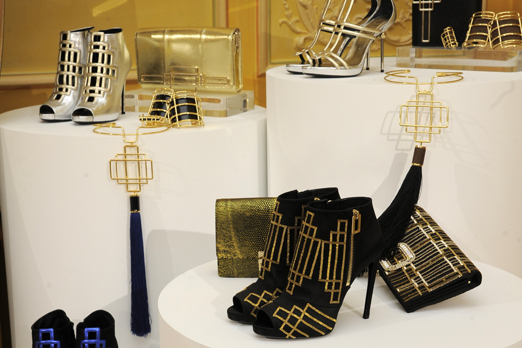 Inspired by Austrian architect Josef Hoffmann, for his Fall collection Bruno Frisoni overlapped  rectangle shapes on a series of shoes, bags and jewelry.