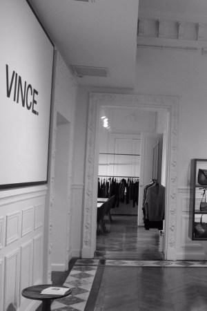 Inside the Vince showroom in Paris.