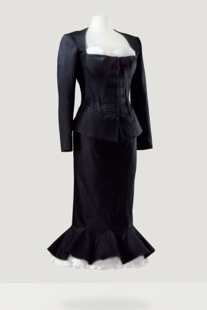 Bettina Graziani's black satin evening outfit created by Azzedine Alaïa in 1992