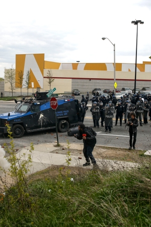 Baltimore Police officers outside the Mondawmin Mall.