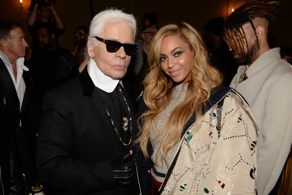 Karl Lagerfeld and Beyoncé at Chanel's Métiers d'Art show.