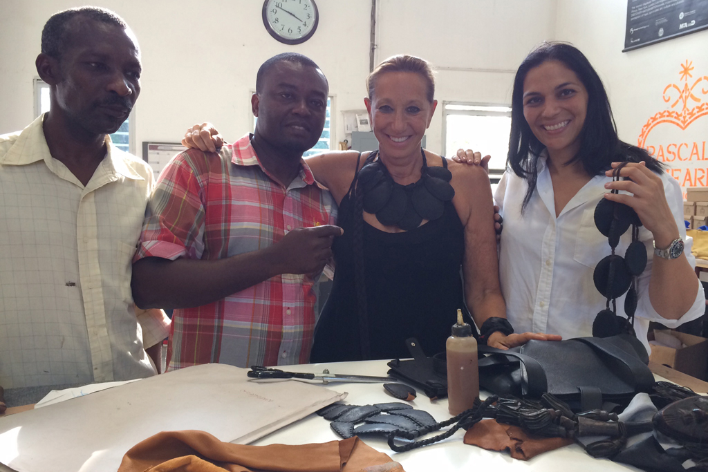 Donna Karan and Pascale Theard  with local Haitian artists.