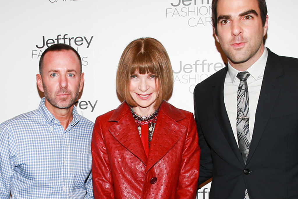 Jeffrey Kalinsky, Anna Wintour and Zachary Quinto.