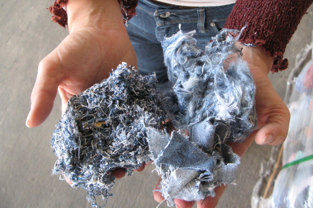 Denim Recycled Scrap to Fiber.