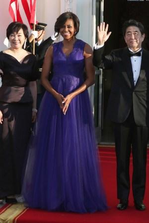Michelle Obama wears Tadashi Shoji