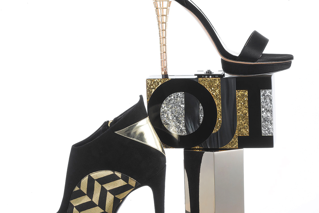 Clockwise from top: Monique Lhuillier's satin sandal with metal heel; Rafe's Lucite clutch; Lee Savage's brass and lambskin clutch; Rauwolf's Plexiglas and lace clutch; and Charline De Luca's suede, leather and metallic polyblend ankle bootie.