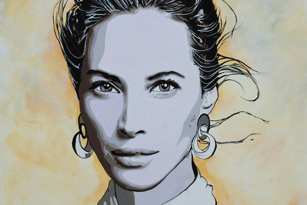 A painting of Christy Turlington by Mark Boomershine.