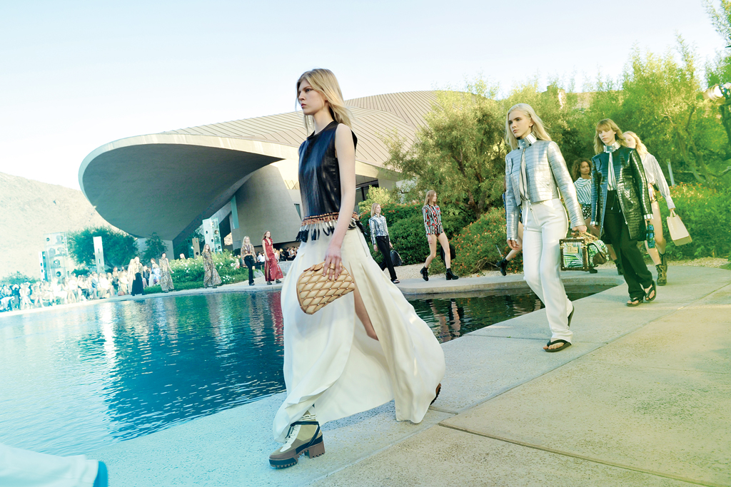 The Louis Vuitton runway around the pool at the Bob and Dolores Hope Estate.