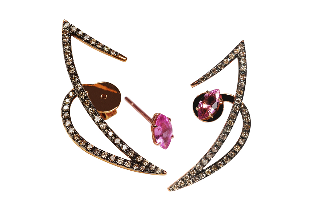 Kavant & Sharart's 18-karat rose gold ear jackets with pink sapphires and Champagne diamonds.