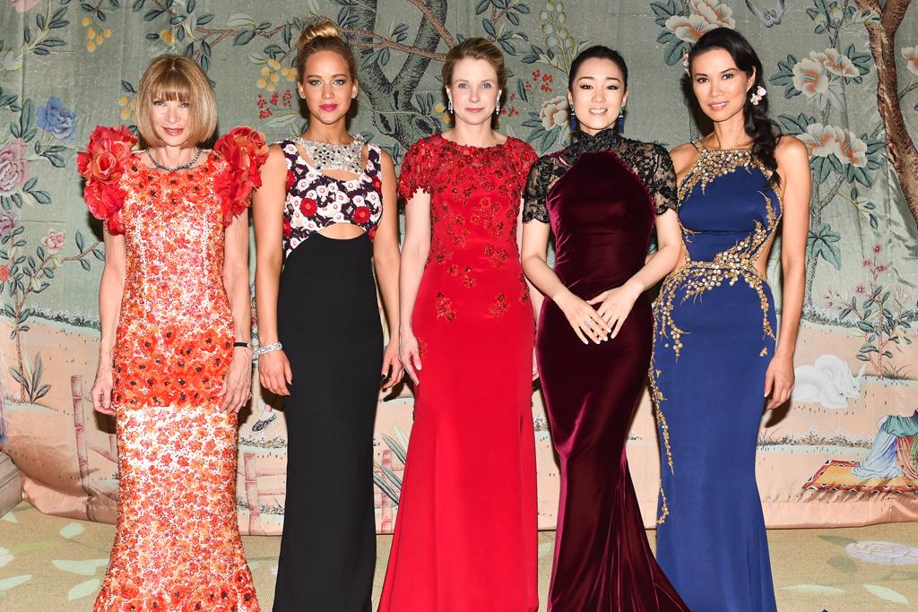 Met, 2015, Anna Wintour, Jennifer Lawrence, Gong Li, Marissa Myer, Wendi Murdoch