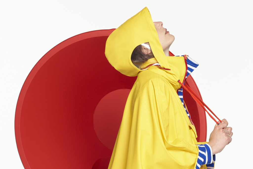 A rain cape from Jean-Charles de Castelbajac's capsule collection for Petit Bateau.