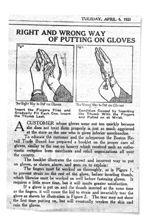 The right and wrong way of putting on gloves.