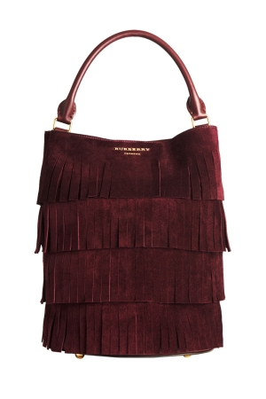 Burberry's Bucket Bag in elderberry English suede with tiered fringing.