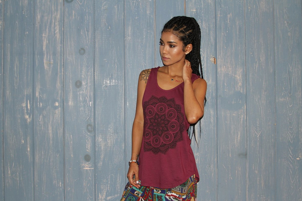 Jhené Aiko in a look from her new fashion collaboration with Neff.