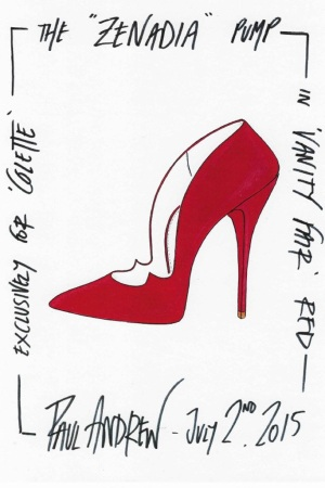 A sketch of Paul Andrew's Zenadia pump for Colette