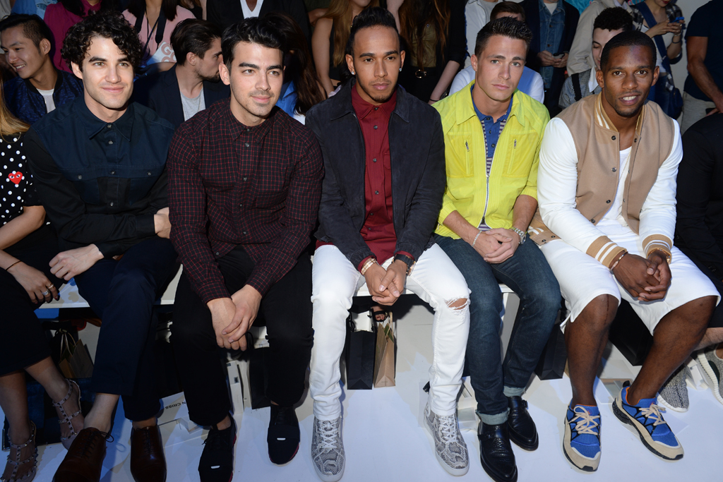 Darren Criss, Joe Jonas, Lewis Hamilton, Colton Hayes and Victor Cruz.